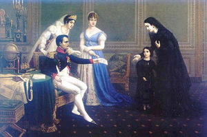 Josephine and Hortense with Napoleon greet a